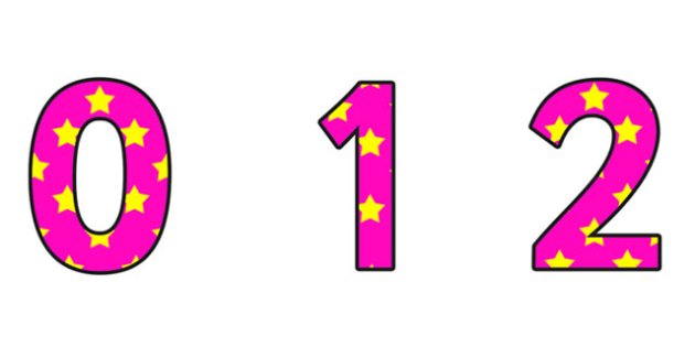 Pink and Yellow Stars Display Numbers - pink and yellow stars, stars diplay numbers, pink and yellow star display numbers, display numbering