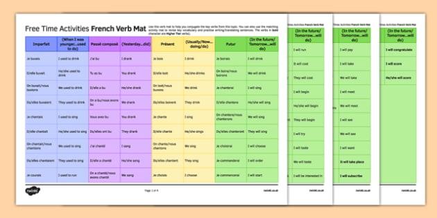 Les loisirs Set de verbes - french, Free time, activities, leisure, hobbies, pastime, passe-temps loisirs, verbs, verbes, learning mat, grid, révision, revision