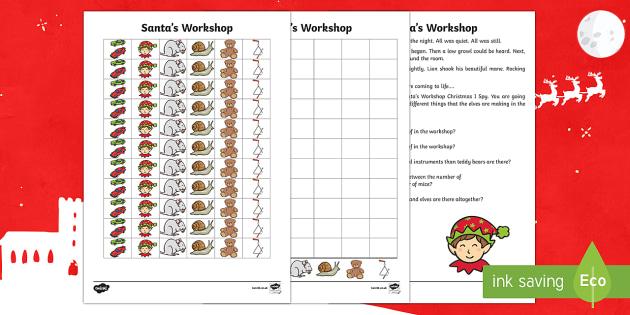 KS1 Santa's Workshop Alphabet Activity Sheet - Christmas, Nativity, Jesus, xmas, Xmas, Father Christmas, Santa's Workshop, elves, alphabet