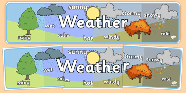 Weather Display Banner (Different Weather) - Weather display, KS1, display banner, Weather, weather chart, weather display, date display, rain, sun, snow, fog, cloud