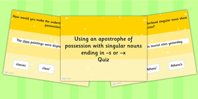 Using an Apostrophe Possession Singular Nouns SPaG PowerPoint