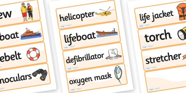 Lifeboat Station Word Cards - Life boat Role Play, life boat resources, seaside, seaside rescue, power boat, first aid, people who help us, role play, display, poster, Word cards, Word Card, flashcard, flashcards,
