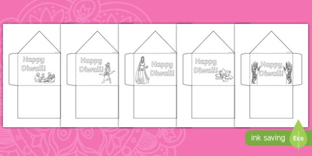 Diwali Colouring Envelope Activity