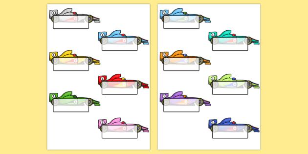 Editable Self Registration Labels (Racing Cars) - Self registration, register, transport, racing cars, editable, labels, registration, child name label, printable labels