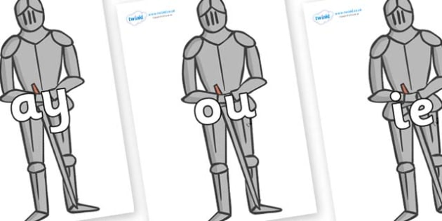 Phase 5 Phonemes on Suits of Armour - Phonemes, phoneme, Phase 5, Phase five, Foundation, Literacy, Letters and Sounds, DfES, display