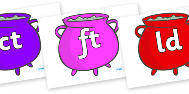 Final Letter Blends on Cauldrons (Multicolour) - Final Letters, final letter, letter blend, letter blends, consonant, consonants, digraph, trigraph, literacy, alphabet, letters, foundation stage literacy
