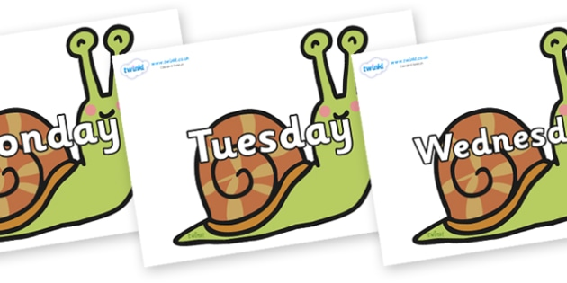 Days of the Week on Snails - Days of the Week, Weeks poster, week, display, poster, frieze, Days, Day, Monday, Tuesday, Wednesday, Thursday, Friday, Saturday, Sunday