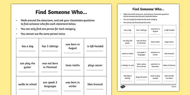 Find Someone Who... Getting to Know You Game Activity Sheet - canada, first day, first day of school, discussion, game, activity, oral, oral interaction, interaction, worksheet
