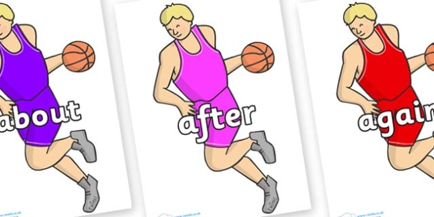 KS1 Keywords on Basketball Player - KS1, CLL, Communication language and literacy, Display, Key words, high frequency words, foundation stage literacy, DfES Letters and Sounds, Letters and Sounds, spelling