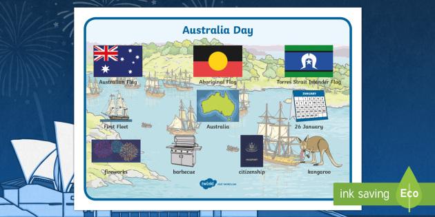 Australia Day Scene Word Mat - australia, scene, word mat, mat