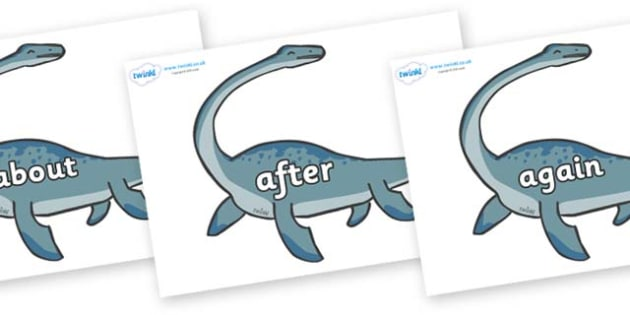 KS1 Keywords on Plesiosaur - KS1, CLL, Communication language and literacy, Display, Key words, high frequency words, foundation stage literacy, DfES Letters and Sounds, Letters and Sounds, spelling