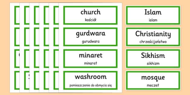 Places of Worship Vocabulary Cards Polish Translation - polish, places, worship, vocabulary, cards