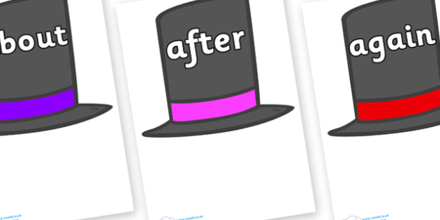 KS1 Keywords on Top Hats - KS1, CLL, Communication language and literacy, Display, Key words, high frequency words, foundation stage literacy, DfES Letters and Sounds, Letters and Sounds, spelling