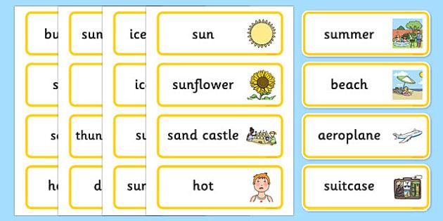 Summer Word Cards - summer, seasons, word cards, keywords, words