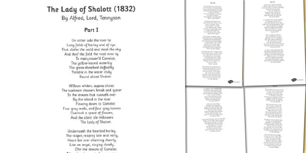 The Lady of Shallot' by Alfred Lord Tennyson Poem Sheets