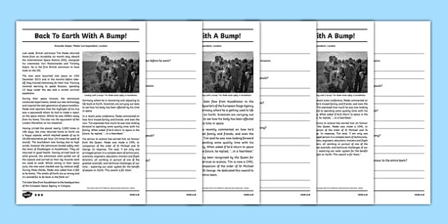 Back To Earth Newspaper Report Differentiated Reading Comprehension Activity