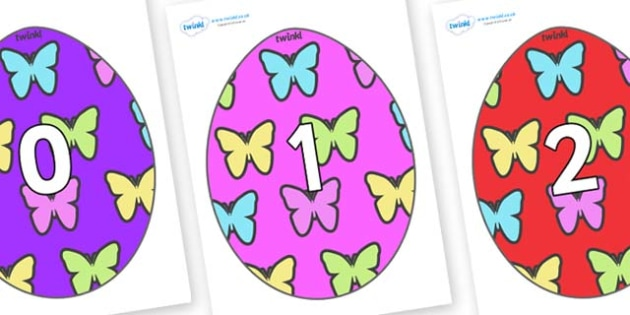 Numbers 0-50 on Easter Eggs (Butterflies) - 0-50, foundation stage numeracy, Number recognition, Number flashcards, counting, number frieze, Display numbers, number posters
