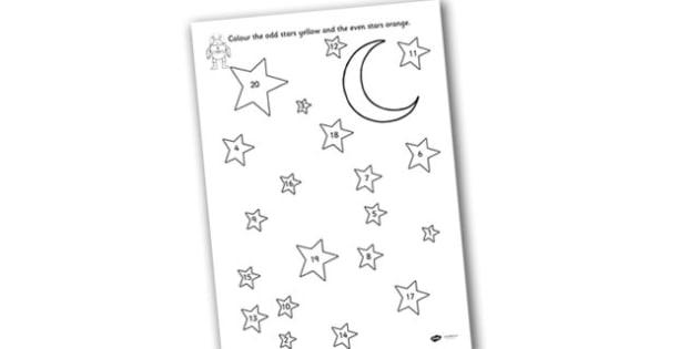 Odd and Even Colouring Stars to Twenty - even, odd and even, colouring, colouring sheet, colouring worksheet, 0-20, colouring stars, odd and even worksheet