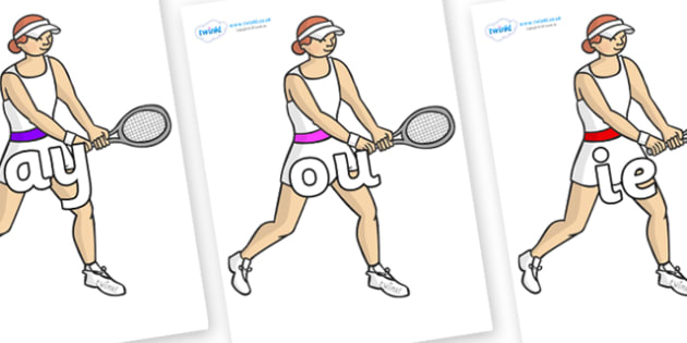 Phase 5 Phonemes on Tennis Players - Phonemes, phoneme, Phase 5, Phase five, Foundation, Literacy, Letters and Sounds, DfES, display