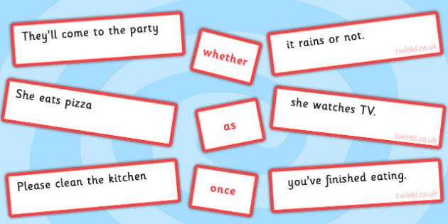 Sentence Matching Game Conjunctions Whether As Once - Connectives