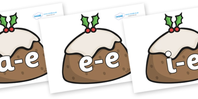 Modifying E Letters on Christmas Puddings - Modifying E, letters, modify, Phase 5, Phase five, alternative spellings for phonemes, DfES letters and Sounds