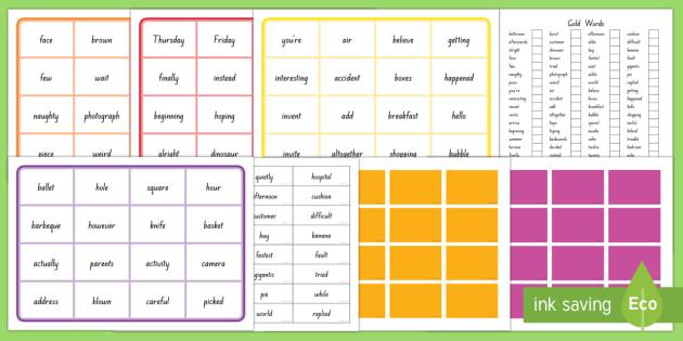 New Zealand Reading Gold Sight Word Bingo