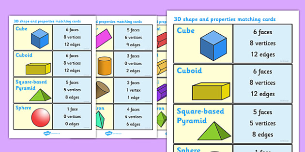 3D Shape and Properties Matching Cards - 3D shape, 3D, shapes, shapes ...