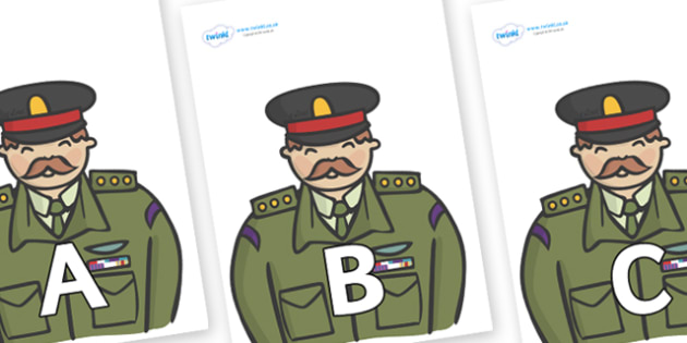 A-Z Alphabet on Generals - A-Z, A4, display, Alphabet frieze, Display letters, Letter posters, A-Z letters, Alphabet flashcards