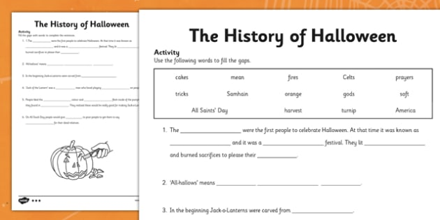 The History of Halloween Cloze Activity Differentiated - roi, republic of ireland, ireland, history, halloween