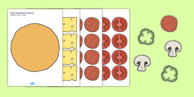 Pizza Ingredients Fractions Polish Translation - polish, fraction, food, maths, numeracy