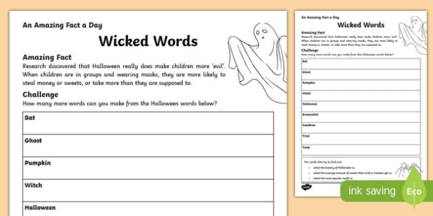 Wicked Words Activity Sheet, worksheet