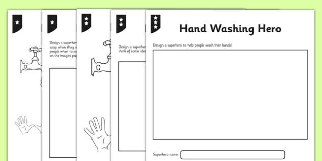 Differentiated Handwashing Hero Activity Sheet - hands, washing, wash, clean, hygiene, germs, worksheet
