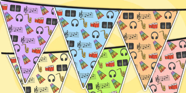 Listening And Music Area Themed Bunting - listening, music, areas