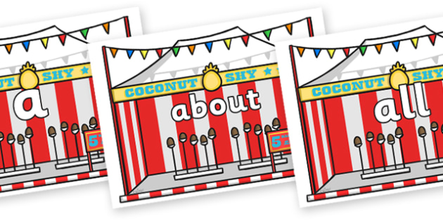 100 High Frequency Words on Fairground Coconut Stands - High frequency words, hfw, DfES Letters and Sounds, Letters and Sounds, display words