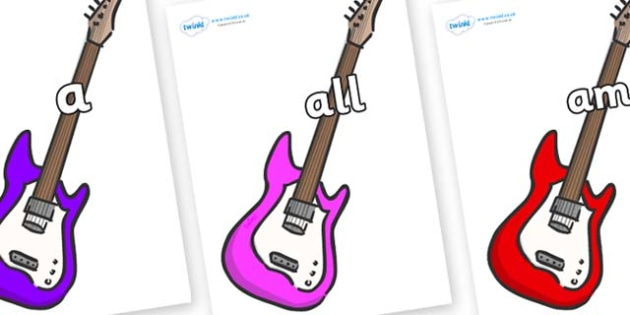 Foundation Stage 2 Keywords on Guitars - FS2, CLL, keywords, Communication language and literacy,  Display, Key words, high frequency words, foundation stage literacy, DfES Letters and Sounds, Letters and Sounds, spelling