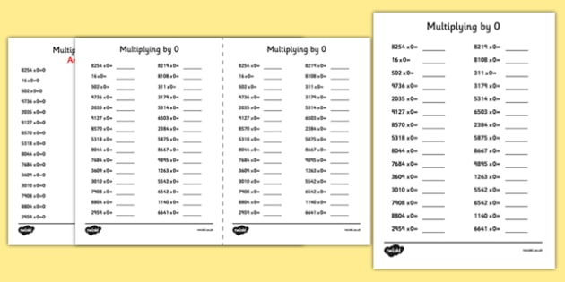 Multiplying by 0 A5 Activity Sheet - multiplying, by 0, activity, sheet, worksheet
