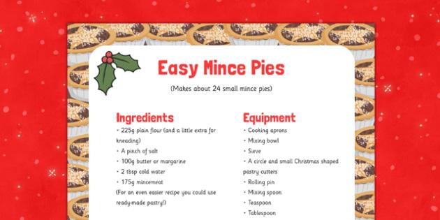 Easy Mince Pie Recipe - EYFS, Early Years, recipe, baking, Christmas
