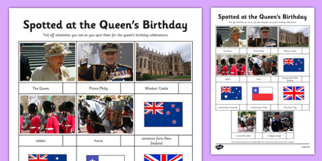 The Queen's Birthday Celebrations Spotter Activity Sheet - the queen's birthday, celebrations, spotter, activity, worksheet