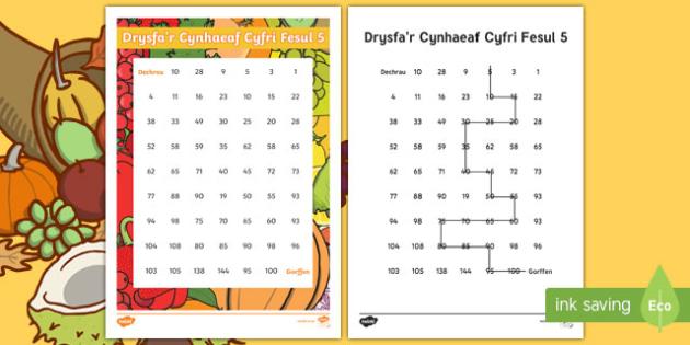 Drysfa'r Cynhaeaf Cyfri Fesul 5 Taflen Weithgaredd Cyfri