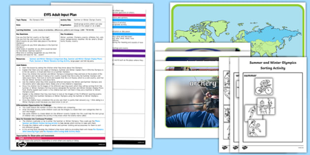 Summer and Winter Olympic Events EYFS Adult Input Plan and Resource Pack - Rio, Olympics, winter, summer, understanding the world, comparing, similarities and differences, events, sports, EYFS planning, adult input plan