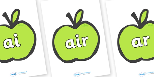 Phase 3 Phonemes on Apples - Phonemes, phoneme, Phase 3, Phase three, Foundation, Literacy, Letters and Sounds, DfES, display