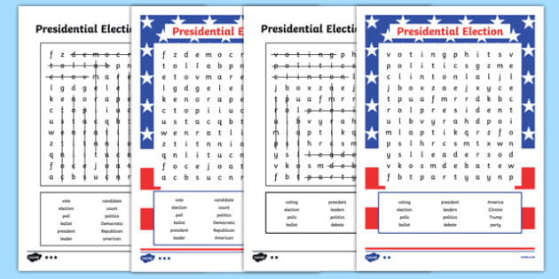 Presidential Election Word Search