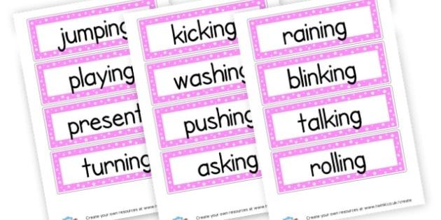 Present Tense Verbs Cards - Verb Primary Resources, verbs, noun, adjective, wow, keywords