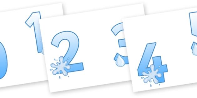 0-9 Display Numbers (Water) - Display numbers, 0-9, numbers, water, display numerals, display lettering, display numbers, display, cut out lettering, lettering for display, display numbers
