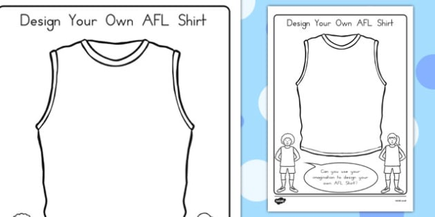 Design Your Own AFL Shirt Activity - australia, sport, design, clothing, colouring, early years, KS1, KS2,