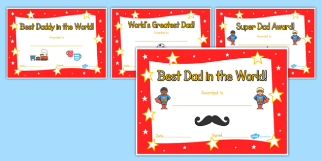 Father's day certificates - father, Father's day, award, reward