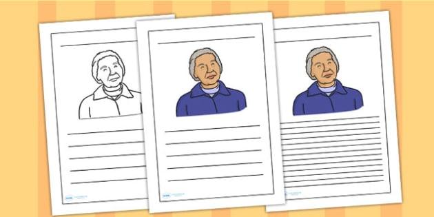 Rosa Parks Writing Frame - rosa parks, writing frame, writing template, writing guide, writing aid, line guide, writing guide, themed writing aid, writing