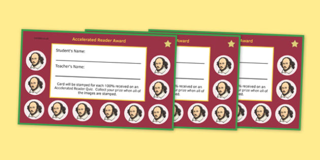 Incentive Stamp Cards Shakespeare to Support the Teaching on Accelerated Reader - English, KS 3, KS 2, Reading, Accelerated Reader, Accelerated Reading, Incentive, Reward Card