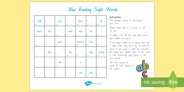 Blue Reading Sight Words Board Game - Literacy, Reading, Blue, Sight Words, Colour Wheel