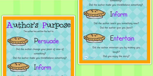 Authors Purpose PIE Poster - writing, authors purpose, literacy